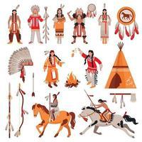 Ilustración de vector de conjunto de iconos decorativos de nativos americanos