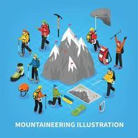 Mountaineering Isometric Illustration vector