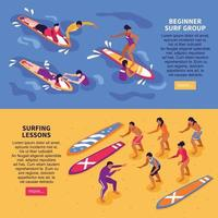 Surfing Lessons Horizontal Banners Vector Illustration