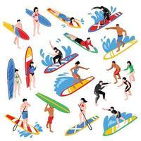 Isometric Surf Set Vector Illustration