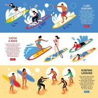 Surfing Isometric Horizontal Banners Vector Illustration
