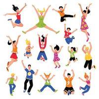 Happy Jumping People Isometric Set Vector Illustration