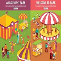 Isometric Amusement Park Banners Vector Illustration