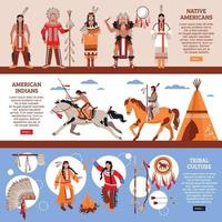 Native Americans Horizontal Banners Vector Illustration