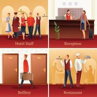 Hotel People Flat Compositions Vector Illustration