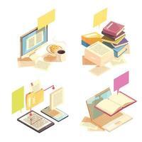Ilustración de vector de concepto de diseño de biblioteca 2x2