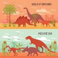 World Of Dinosaurs Banners Vector Illustration
