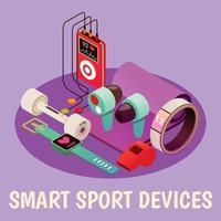 Wearable Fitness Gadgets Background Vector Illustration