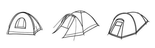 Set of tourist tents. Field equipment. Tent for Hiking, travel, recreation and mountaineering. Vector illustration in the Doodle style.