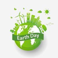 Concepto de ciudad ecológica y medio ambiente con ideas ecológicas, ilustración vectorial vector