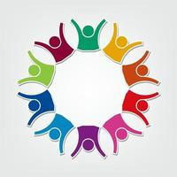 Group of ten people logo in a circle.Persons teamwork holding vector