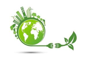 Energy ideas save the world concept Power plug green ecology recycle vector