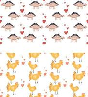 Set seamless pattern Vector illustration Nursery cute print with chickens and hearts and with dinosaurs Happy Valentines day 14 February