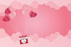 Valentine's day, heart-shaped balloon floating in the sky, pink background, paper art vector