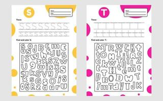 Set trace letter worksheet a4 for kids preschool and school age Game for children Find and color vector