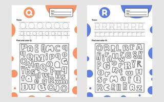 establecer la hoja de trabajo de la letra de seguimiento a4 para niños en edad preescolar y escolar vector