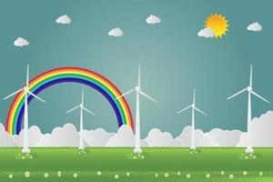 turbinas de viento con energía solar limpia con concepto de carretera ecológica ideas ilustración vectorial. vector