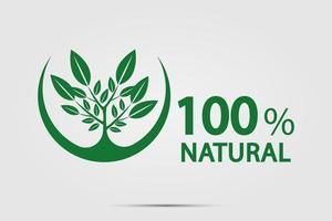 concepto de energía ecológica verde, etiqueta 100 por ciento natural. ilustración vectorial. vector