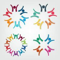 Group people logo in a circle.Persons teamwork holding vector