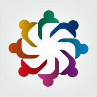 Group of eight people logo in a circle.Persons teamwork holding vector