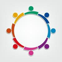 Group of eight people design in a circle.Persons teamwork holding vector