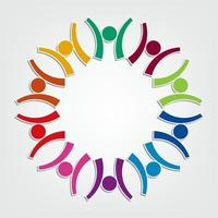 Group of ten people design in a circle.Persons teamwork holding vector