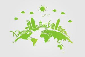 Ecology.Green cities help the world with eco-friendly concept ideas.vector illustration vector