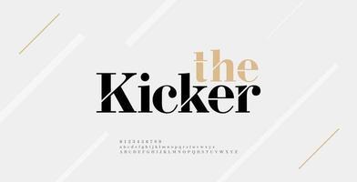 Fuente y número de letras del alfabeto moderno. elegantes diseños de moda minimalista con letras urbanas clásicas. fuentes tipográficas mayúsculas minúsculas y números. vector
