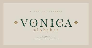 elegante alfabeto letras fuente serif y número. letras clásicas de moda mínima. fuentes tipográficas mayúsculas, minúsculas y números regulares. vector