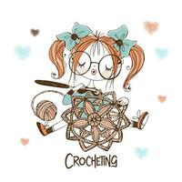 A cute needlewoman girl is crocheting an openwork napkin. vector