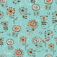 Seamless pattern with cute doodle-style flowers. Turquoise background. vector