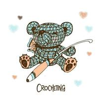 Knitted teddy bear with a crochet hook. vector