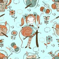 Seamless pattern on the theme of knitting with cute knitter girl in Doodle style. vector
