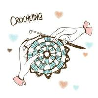 Crocheting. Hands knitting a napkin. vector