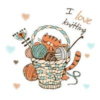 Cute cat with a large basket of balls of yarn for knitting. vector