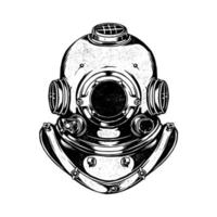 Ilustración de vector dibujado a mano de casco de buzo vintage