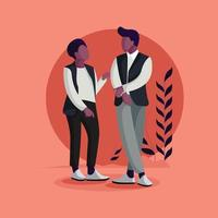 Couple Sharing ideas Flat Vector Illustration
