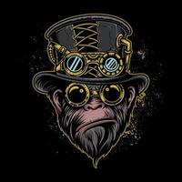 Monkey Steam-punk Vector Illustration On Isolated Background