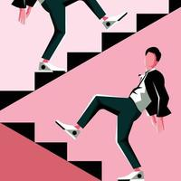 Stay Walk, Go To Up Straight Flat Vector Illustration