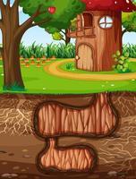 Underground animal hole with ground surface of the garden scene vector