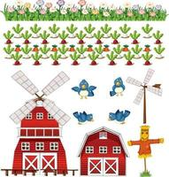 Farm element set isolated on white background vector