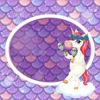 Oval frame template on purple fish scales background with cute unicorn cartoon character vector