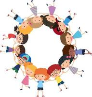 Empty circle banner with many kids holding hands cartoon style isolated vector