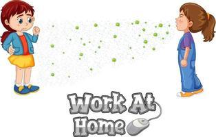 fuente de trabajo en casa en estilo de dibujos animados con una niña mira a su amiga estornudando aislado sobre fondo blanco vector