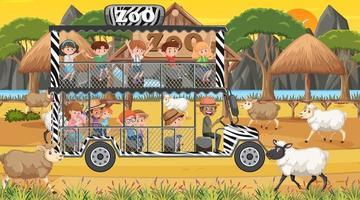 Safari en la escena del atardecer con niños viendo el grupo de ovejas vector