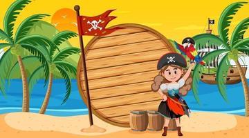 Plantilla de banner vacío con mujer pirata en la escena del atardecer en la playa vector