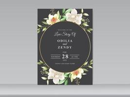 beautiful wedding card set magnolia design vector