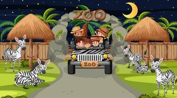 Safari at night scene with many kids watching zebra group vector