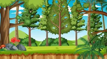 escena del paisaje del bosque de la naturaleza durante el día vector