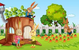 escena al aire libre con muchos personajes de dibujos animados de conejo en el jardín vector
